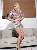 Alexa Grace teasing in her blue jean cutoffs and white panties