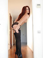 Jodie Leigh strips from her black lingerie