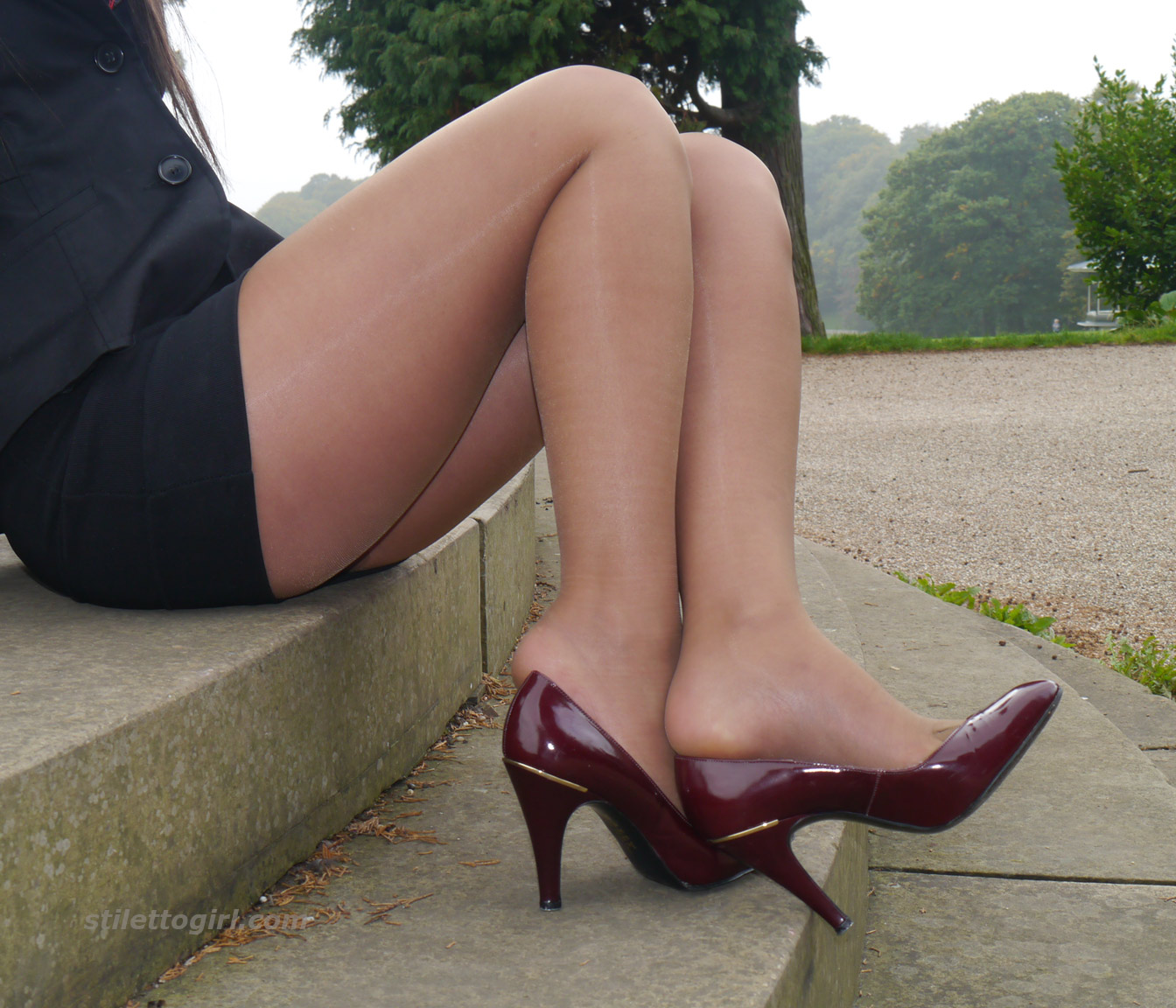 Phrase and Sexy short skirt pantyhose and heels have hit